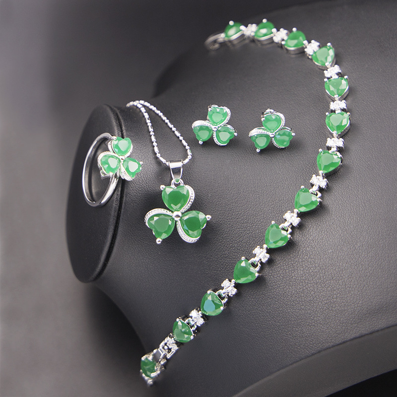 GZJY Women Green Cubic Zirconia Clover Jewelry Sets 925 Silver Wedding Ring Earrings Necklace Pendant Heart Bracelet Jewelry(China)