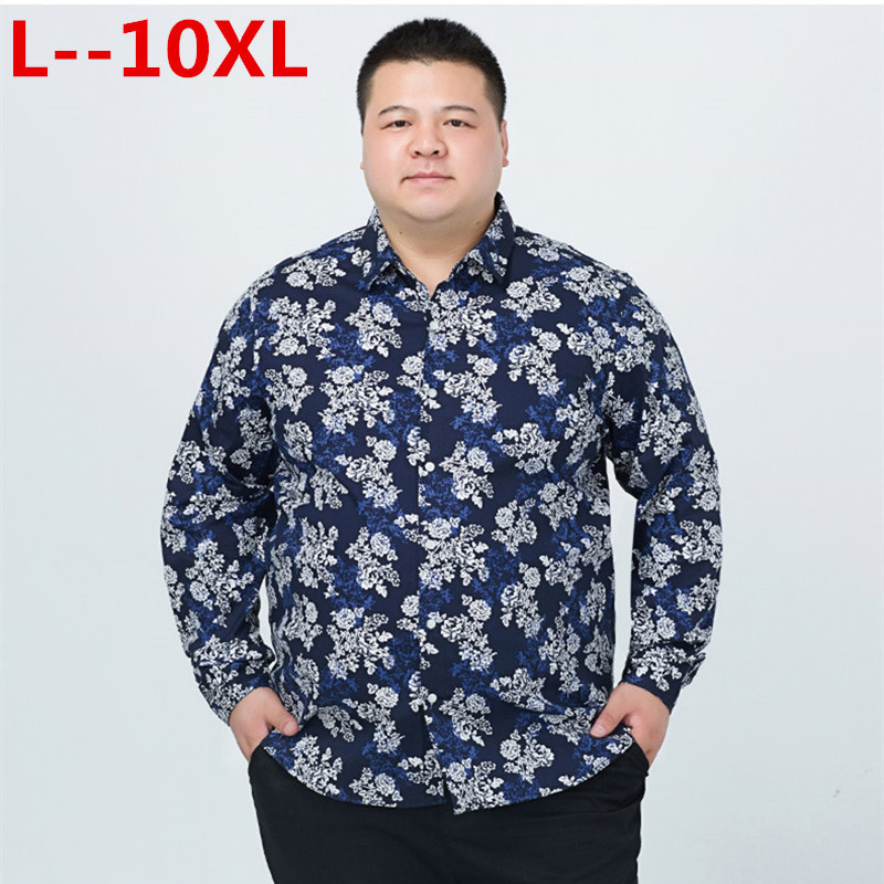 Floral Printed Man Casual Shirts Fashion Classic Men Dress Shirt Breathable Men's Long Sleeve Brand Clothing 10XL 9XL 8XL 6XL 5X