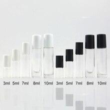 무료 배송 3ml 5ml 7ml 10ml 투명한 유리 향수 롤 병 빈 클리어 메이크업 에센셜 오일 롤러 컨테이너