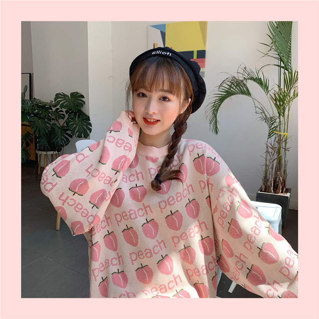 Autumn Winter Sweet Cute Peach Knttied Sweater Long Sleeve Loose Pullover Female Sweater New Fashion Chic Embroidery Sweater