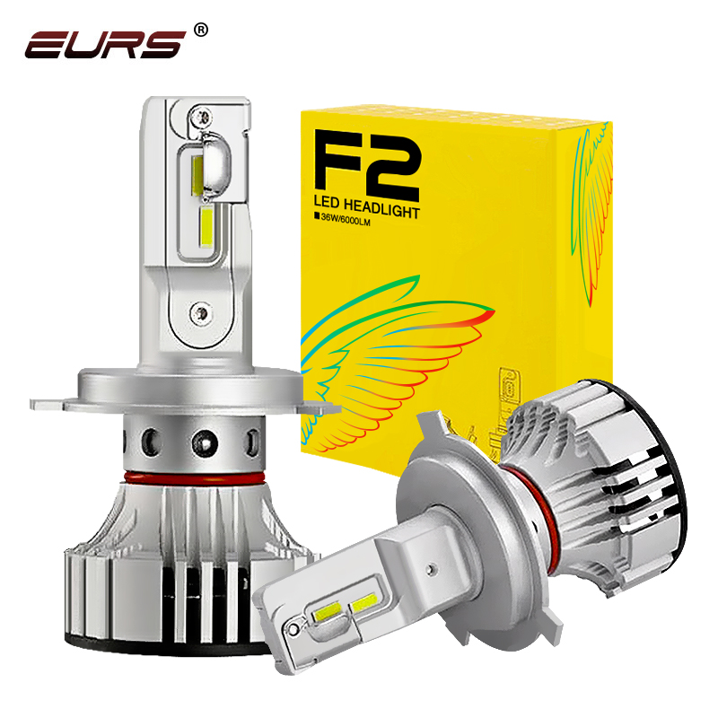 Светодиодные фары EURS H4 LED F2, Автомобильные светодиодные фары H7 H1H8 H9 H11 9005 9006 HB3 HB4 9012 72 Вт 6000 лм, чипы CSP, Турбовентилятор K, передние лампы, лампы