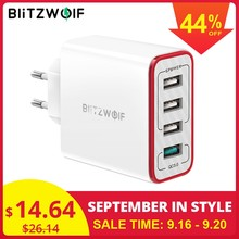 BlitzWolf 4 Ports QC3.0 Quick Charge EU Plug LED Light 30W 2.4A USB Travel Wall Charger Power3S For iPhone Android For N-Swich(China)