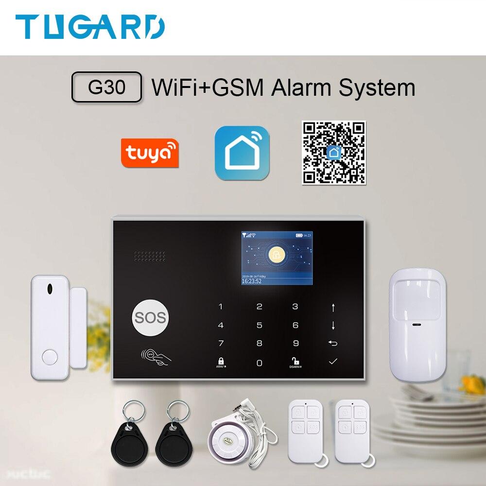 Tuya Smart WiFi 2G GSM Home Security Alarm Sysrtem 433MHz Wireless Burglar Alarm Kit Android IOS System APP Remote Control