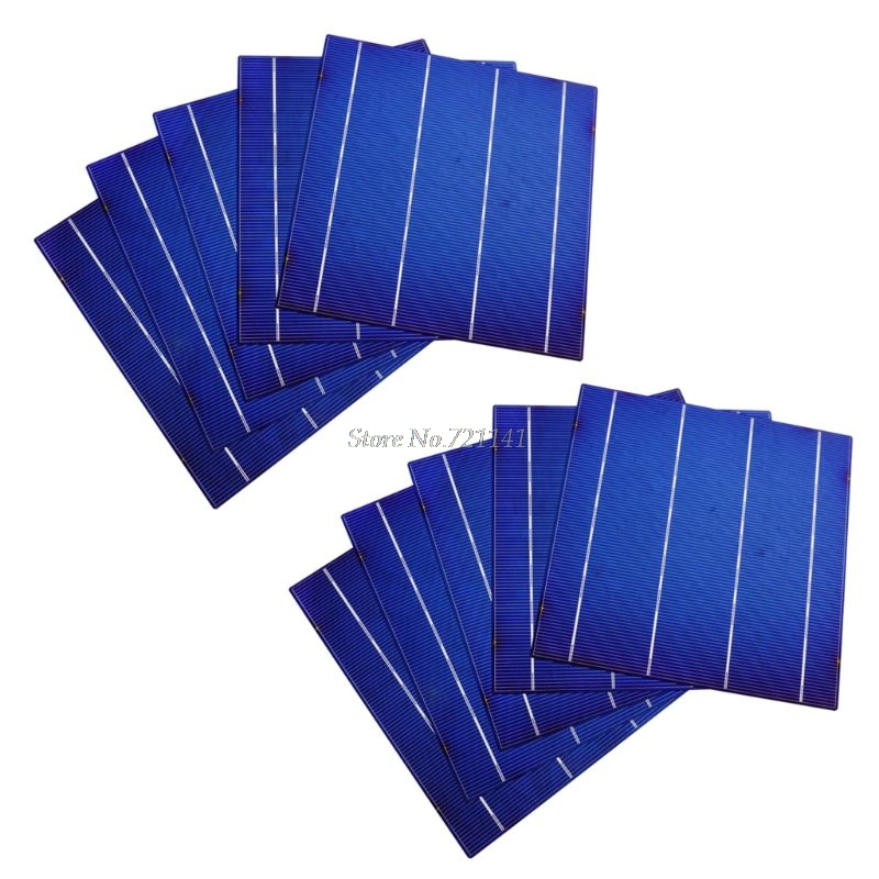 10Pcs 4.5W 156MM Efficiency Photovoltaic Polycrystalline Silicon Solar Insulation Cell For DIY PV Poly Solar Panel Whosale