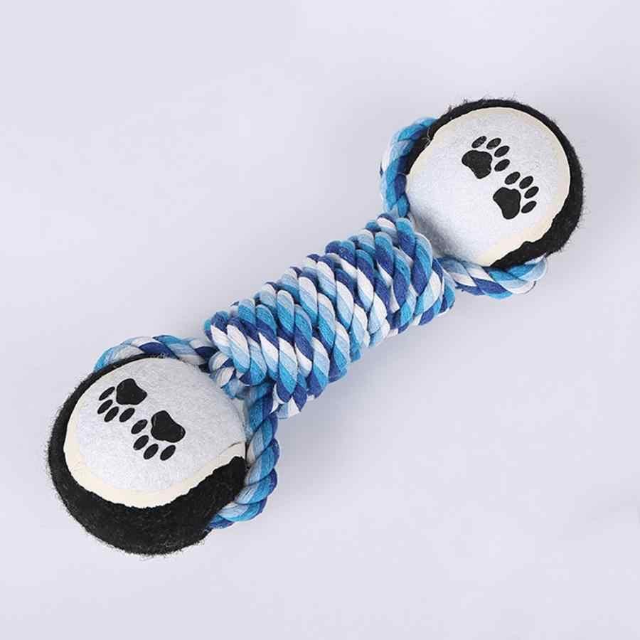 Eco Durável Pet Dog Algodão Corda Trançada Sino Mudo Dupla Bola de Tênis de Treinamento de Filhote de Cachorro Chew Toy Chew Toy