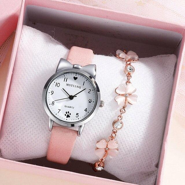 Casual Girl Watch for Kids Cute Leather Strap watch Lovely Children Quartz Wristwatch Student Clock Gift Relogio Feminino
