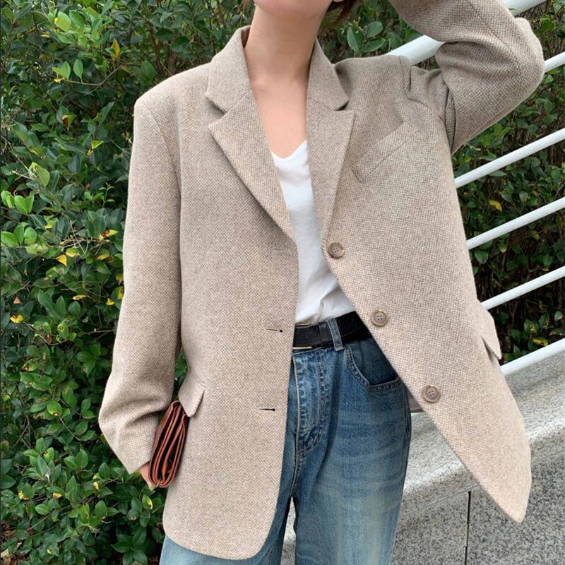 BGTEEVER Vintage Loose Notch Collar Women Blazer Single-breasted Pocket Woolen Coat Female Suit Jacket 2019 Winter Outwear