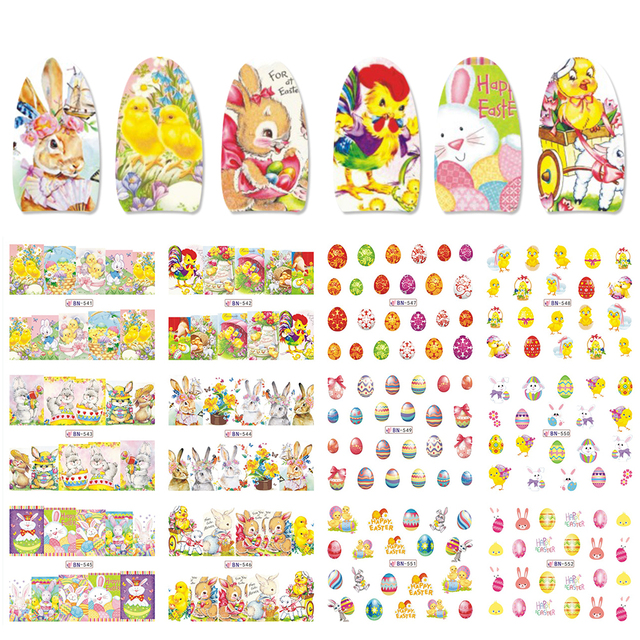 12pcs Easter Series Nail Decals Sticker Set Egg Bunny Rabbit Chick Transfer Water Slider Manicure Adhesive Tattoo CHA1573-1584-1