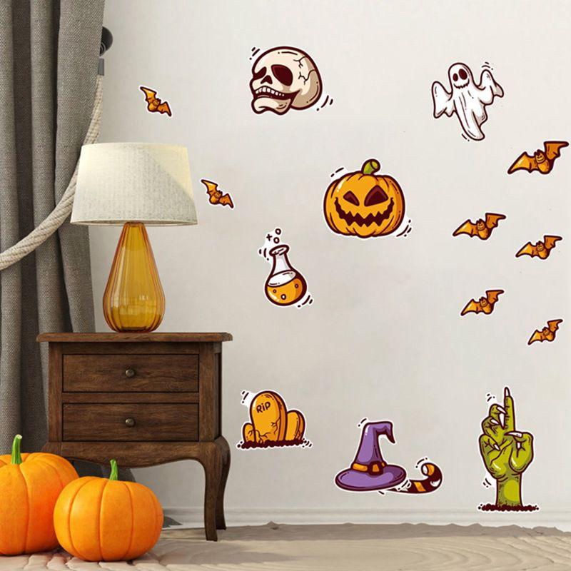 Мультфильм милый Хэллоуин стикер стены водонепроницаемый самоклеющиеся ПВХ наклейки для домашнего декора череп Тыква украшения - 4