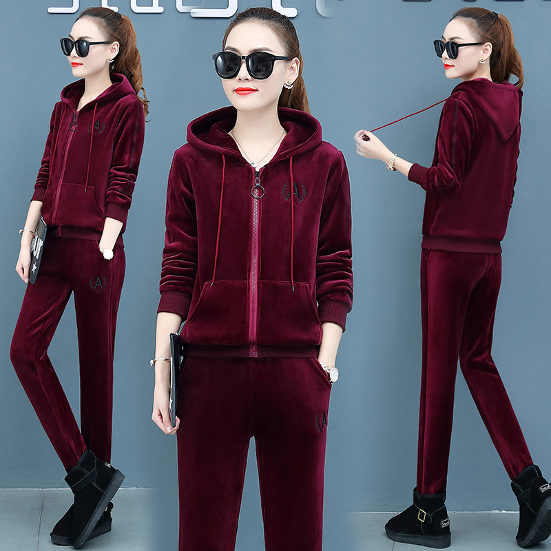 Velvet Thickening Tracksuit For Women 2019 Winter Female  Plus Size Hoodie Jacket+pants Suits Women's Large Size Two Piece Sets