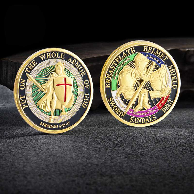 Put On the Whole Armor Of God Commemorative Challenge Coin Collection Gold Gifts