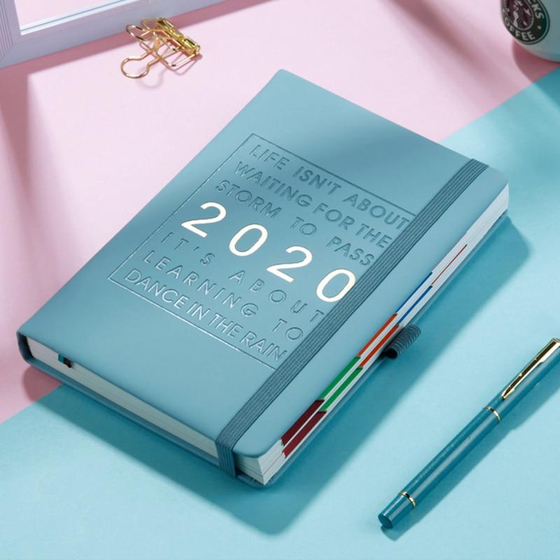 New Fashion Agenda 2020 Thicken Notebook A5 Leather Soft Planner 2020 Jan-Dec Efficiency Journal English Language