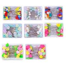 50 sztuk/zestaw krawiectwo szpilki Patchwork igły Craft szpilki z główkami w kształcie kwiatów hafty szpilki dla DIY szycie pikowania akcesoria