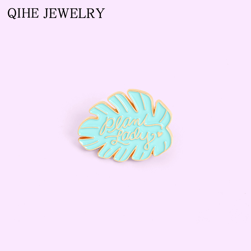 Leaves Enamel Pin Mint Green Leaf Brooches for Women Bag Shirt Lapel Pin Metal Badge Cartoon Plant Jewelry Gift 2021 Wholesale