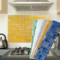 Bathroom Tiles Waterproof Wall Sticker Vinyl Mosaic Self adhesive Anti Oil Stickers DIY Wallpapers Home Decor
