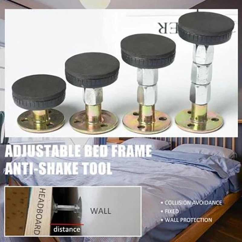 Blulu 6 Pieces Bed Frame Anti-Shake Tool Adjustable Threaded Bedside Anti Shake Fixer Headboard Support for Preventing Wall Home Furniture Loosening