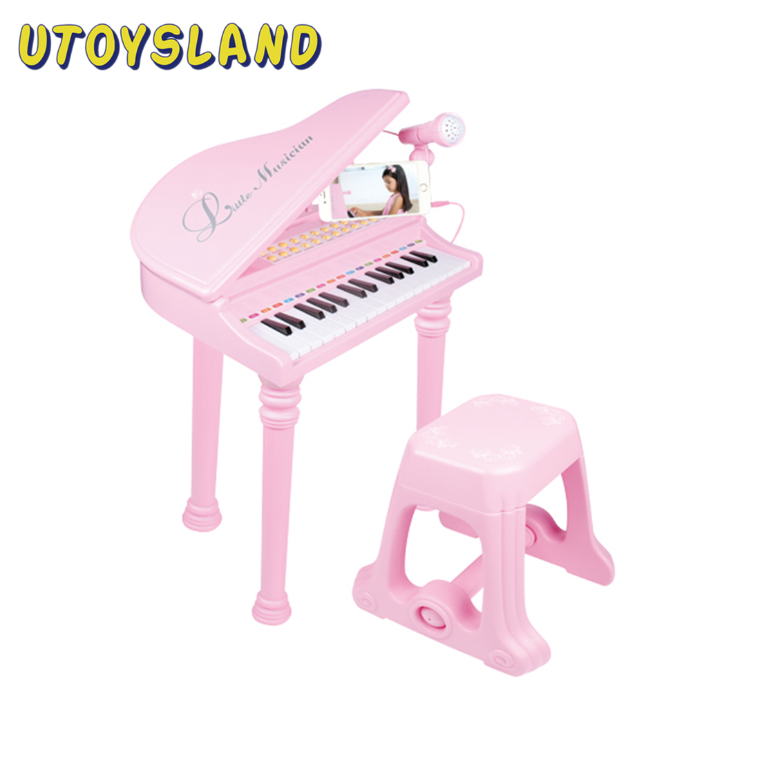 Kids Piano Mini Music Gift Children Musical Toy Piano Microphone Musical Instrument Playing Toy Set Children Gifts - Pink Black