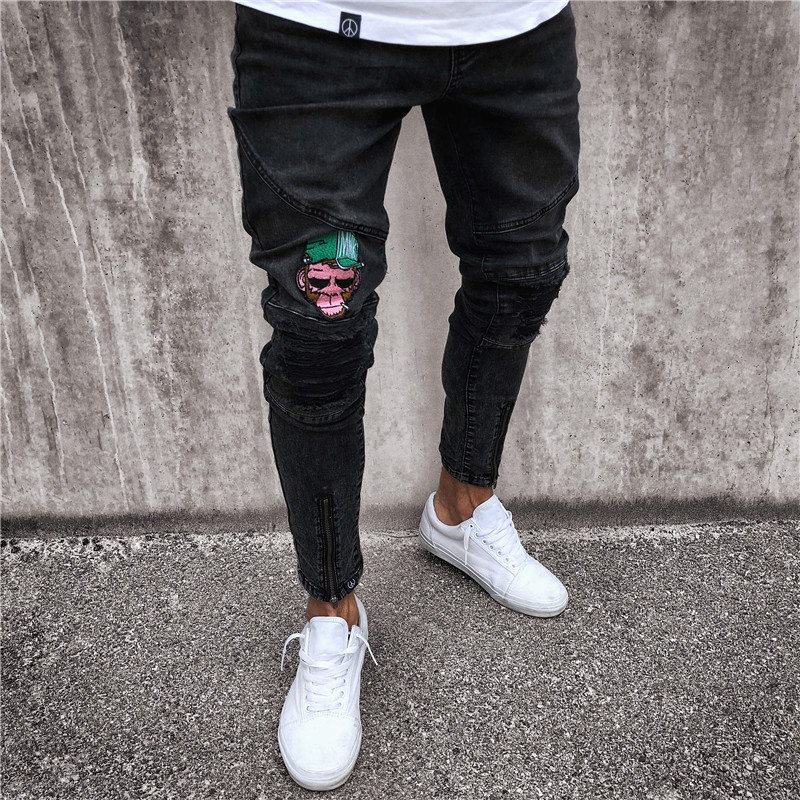 New Style Men's Patch Jeans European Version Of Joint Black And White With Pattern Elasticity Badge Skinny Pants Fashion Trouser