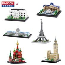 Balody Architecture Congress Building Eiffel Tower White House Big Ben Louvre Museum Diamond Building Small Blocks Toy no Box