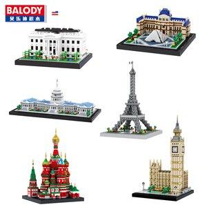 Image 1 - Balody Congresso Architettura Costruzione della Torre Eiffel Casa Bianca Big Ben Museo Del Louvre Diamante di Costruzione di Piccoli Blocchi Giocattolo senza Scatola