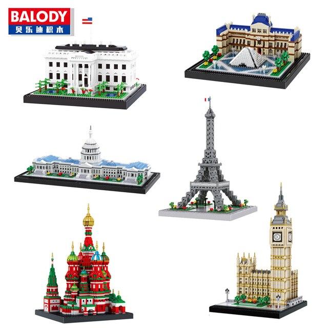 Balody Congresso Architettura Costruzione della Torre Eiffel Casa Bianca Big Ben Museo Del Louvre Diamante di Costruzione di Piccoli Blocchi Giocattolo senza Scatola
