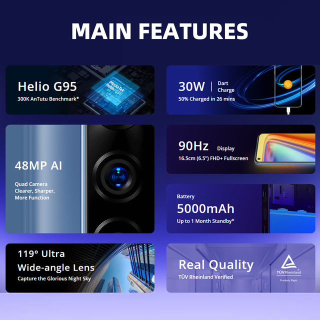 Realme 7 Global Version Cell Phones Unlocked 30W Fast Charge Smartphone 8GB RAM 128GB ROM Mobile Phones Helio G95 Gaming Phone 2
