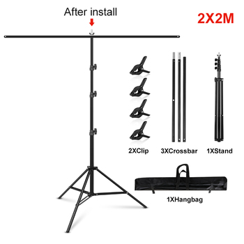 1.5/2/2.6M*2M T-Shape Backdrop Stand With Green Screen Photo Background Support For Birthday Portrait Photo Studio Photography 8