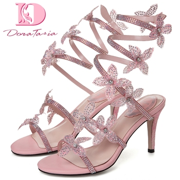 Dora Tasia 2020 New Hot Sale Gladiator Women Pumps Thin Heels Flower Sandals Summer Party Sexy Woman Shoes