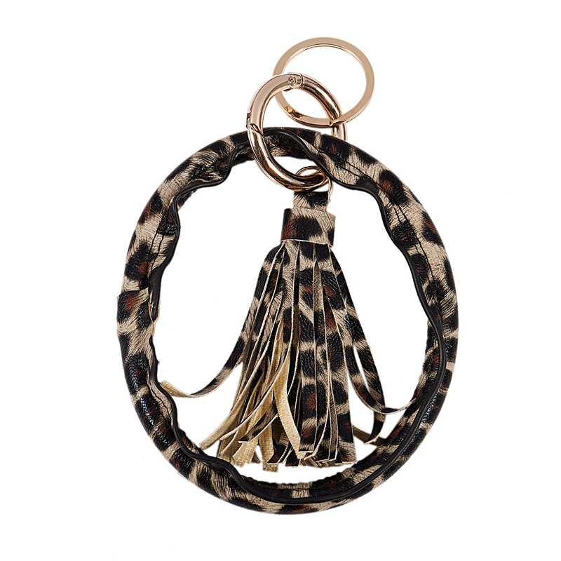 สร้อยข้อมือพวงกุญแจ PU หนังเสือดาววงกลมสร้อยข้อมือพวงกุญแจสร้อยข้อมือจี้ของขวัญ