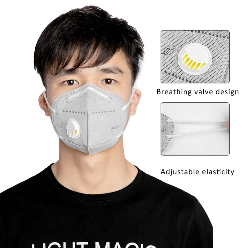 KN95 Unisex Sponge Dustproof PM2.5 Pollution Half Face Mouth Mask With Breath Wide Straps Washable Reusable Muffle Respirator