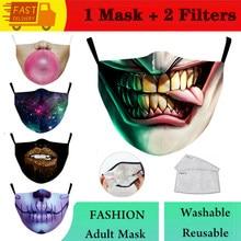 Pm2.5 filtro máscara boca sorridente rosto impressão reutilizável máscara protetora anti poeira máscara à prova de vento boca-máscara de muffle mascarilla