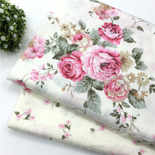 Pink Peony Cotton Fabric Cotton Dress Cloth For Quilting DIY Sewing Craft Material