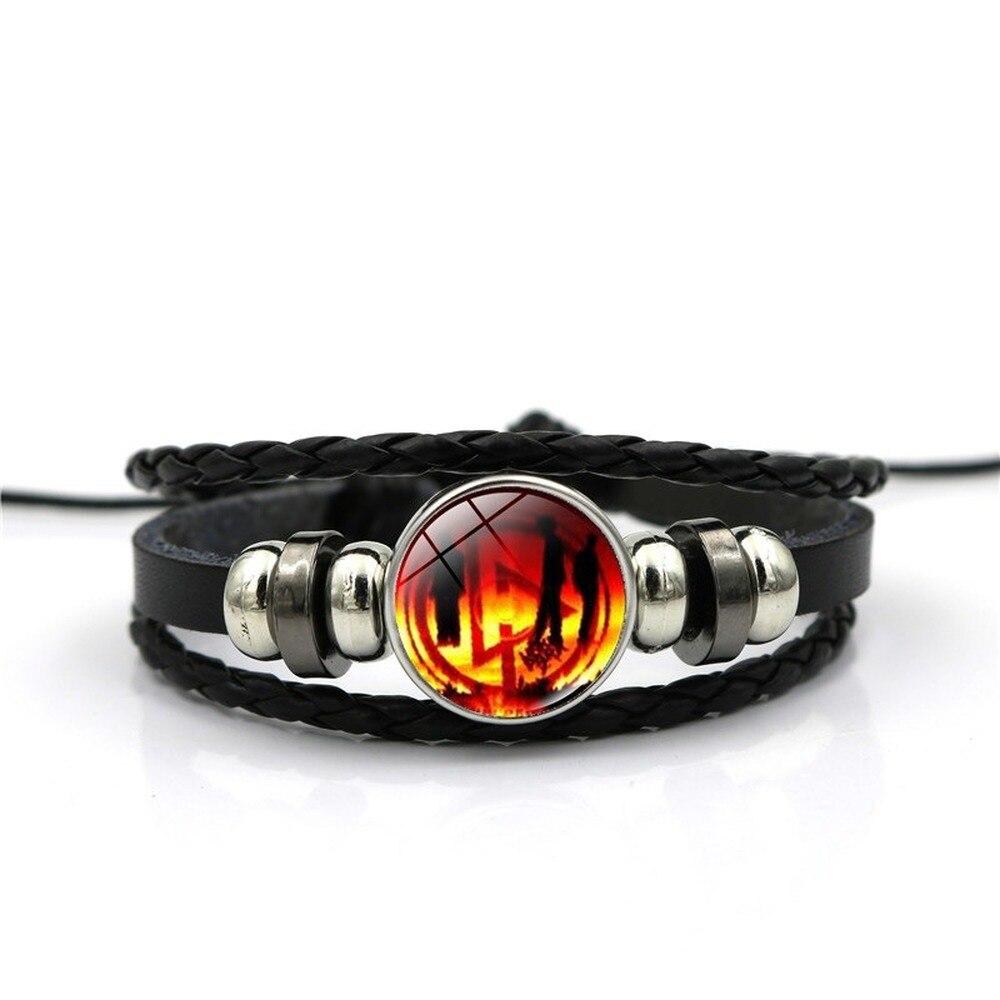 Мужской черный плетеный кожаный браслет в стиле панк модные