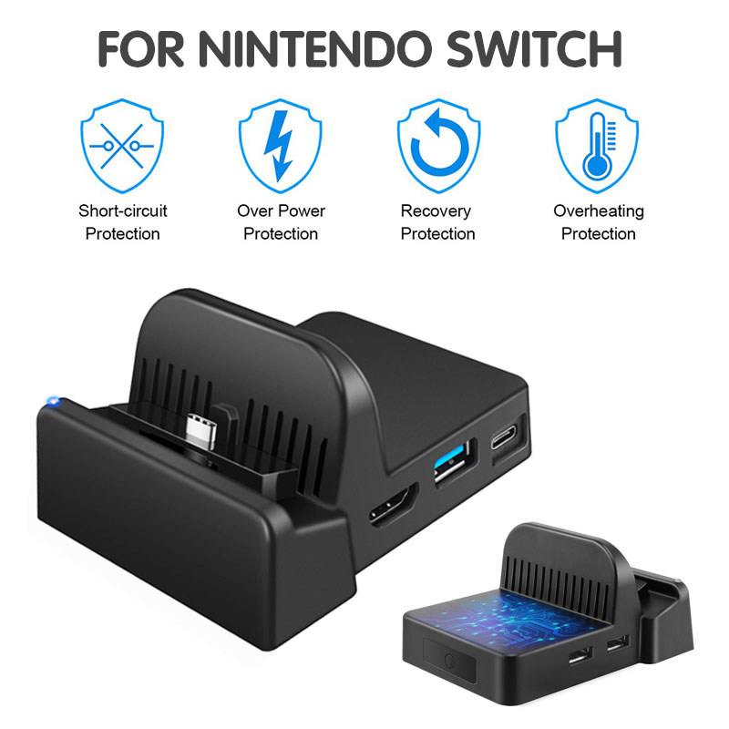 Portable Dock For Nintendo Switch Docking Station Cooling For NS HDMI-compatible Adapter 4K TV Charger Charging Stand Dock