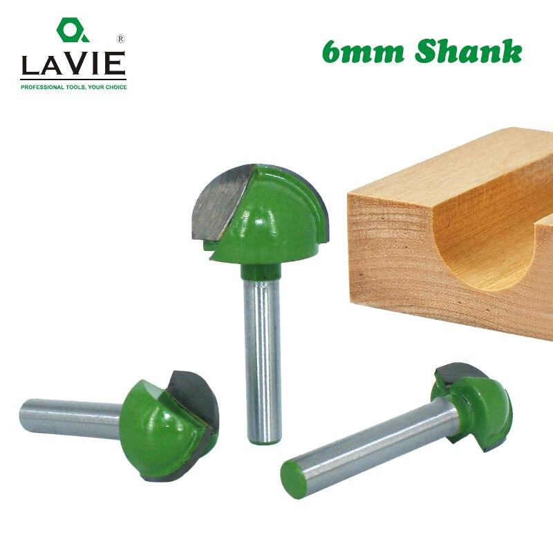 LA VIE 1pc 6mm Shank Ball Nose End Mill Round Nose Cove CNC Milling Bit Radius Core Box Solid Carbide Router Bit Tools MC06001