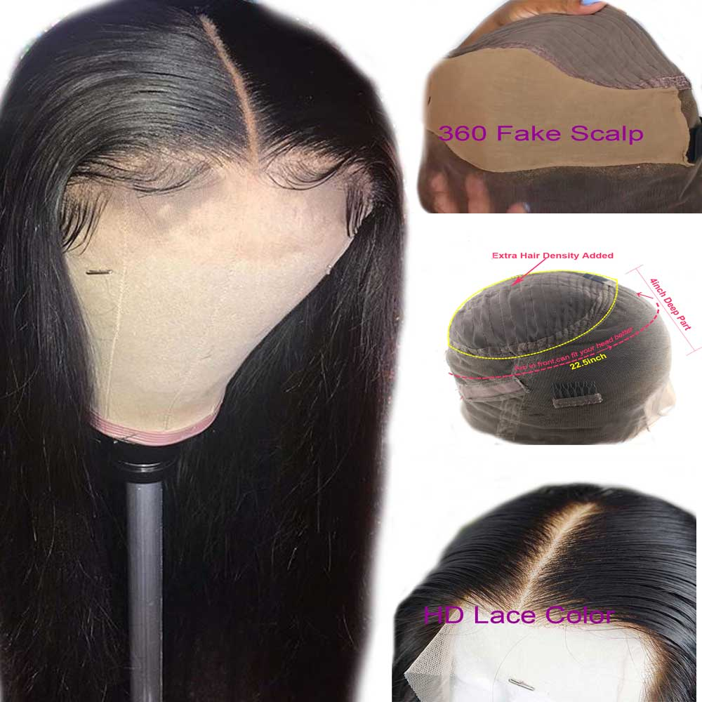 Pre Plucked Straight 360 Fake Scalp Human Hair Wig Brazilian Remy Invisible Lace Wig For Black Women Atina