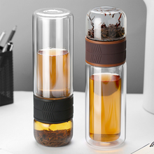 Double Layer Glass Bottle Creative High Borosilicate Glass Cup Tea Teacher Separation Water Bottle double layer 2l chemical glass reactor manufacturer price vacuum distillation high borosilicate glass laboratory instruments