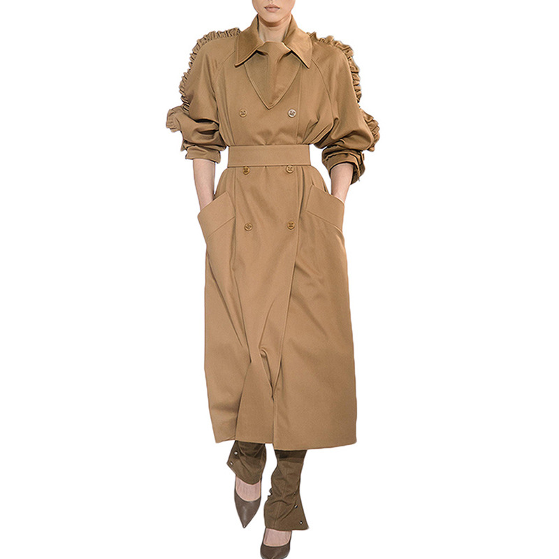 OMIKRON New Autumn Top Women Lady Casual Solid Color Double Breasted Outwear Sashes Office Coat Ruffle Design Long Casual   Trench