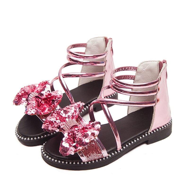 2020 New Sequin Bow Girl Summer Sandals For Big Kids Children Beach Shoe Little Girl Princess Sandal 3 4 5 6 7 8 9 10 11 12 Year