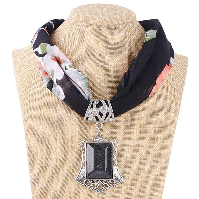Women Scarf Jewelry PendantsCrystal Stone Cotton Scarves Long Tassel Wrap Soft Necklace Female Foulard Accessories Boho Shawl A4