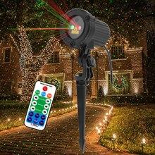 Proyector láser ALIEN con movimiento remoto para Navidad luz láser ligera con puntos de estrellas, movimiento estático, impermeable, para jardín, iluminación de árbol de Navidad