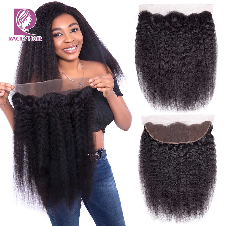 "Racily Hair Natural Brazilian Kinky Straight Lace Closure 10""-22"" 13*4 Lace Frontal Closure Remy Huamn Hair Lace Frontal Closure"