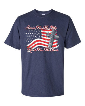 Stand for The Flag Kneel for The Cross American Flag T-Shirt Cotton O-Neck Short Sleeve Men's T Shirt New Size S-3XL short sleeve cartoon eagle and american flag print t shirt