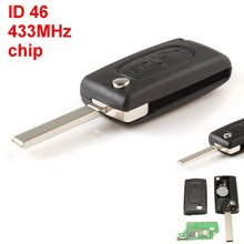 IZTOSS 433MHz 2 Buttons Remote Car Key with ID46 chip for Peugeot 207 307 308