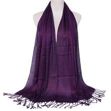 Модный мусульманский Блестящий шарф с люрексом, женская модель, однотонная блестящая шаль с кисточкой, головной платок, женское покрытие для головы, тонкий глушитель