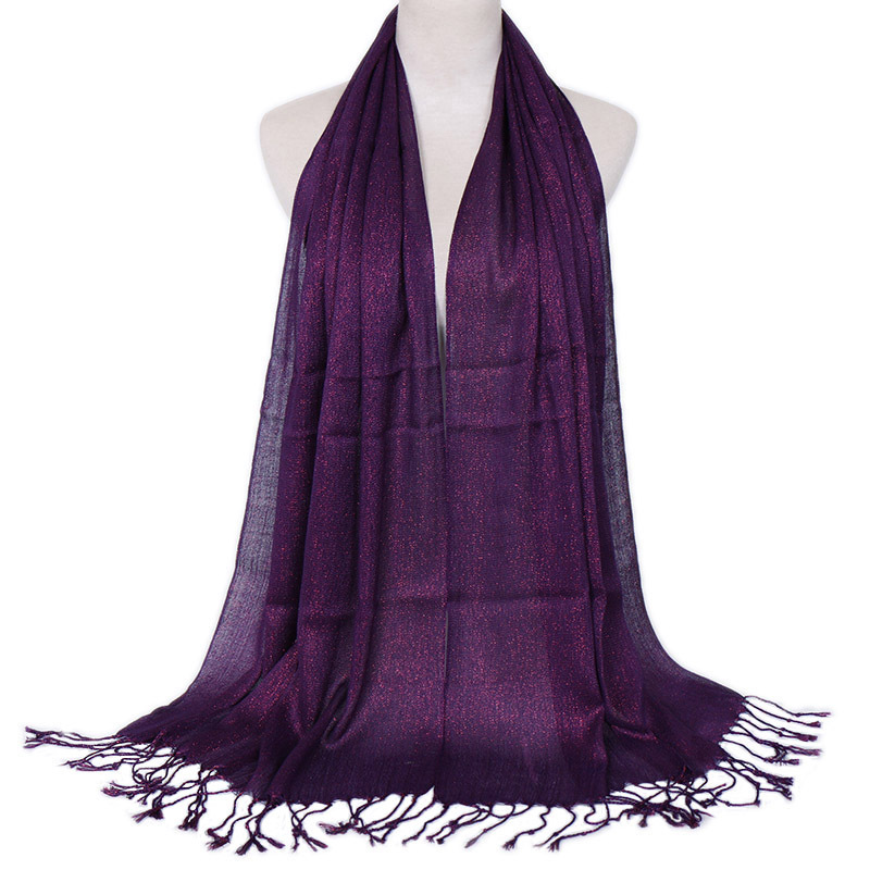 Fashion Lurex Muslim Glitter Scarf Womens Hijabs Wrap With Tassel Solid Shimmer Shawl Headscarf Women Head Covering Muffler Thin