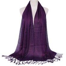 แฟชั่น Lurex มุสลิม Glitter ผ้าพันคอสตรี Hijabs Wrap กับพู่ Solid Shimmer Shawl Headscarf ผู้หญิงหัวครอบคลุม Muffler บาง