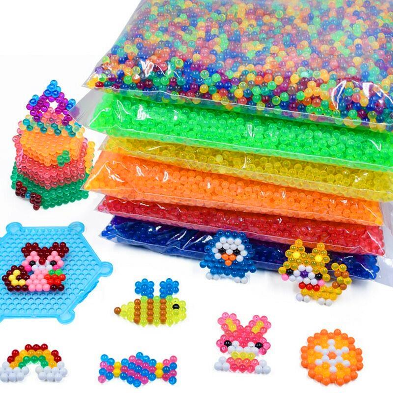 Water Mist Beads 6000pcs/bag Pegboard Sticky Water Beads Jigsaw Puzzle Beadbond Educational Toys DIY Water Kralen Magic Bead