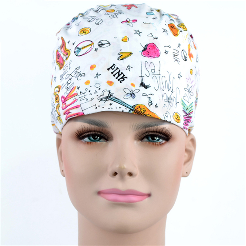 Surgical Cap White Print Nurse Medical Scrub Caps 100% Cotton With Sweatband Tieback Back Elastic Section Chef Cooking Hats