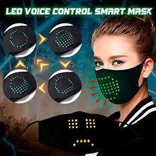 Mascarilla facial luminosa LED activada por voz, Máscara protectora para fiesta, festival, Hip hop